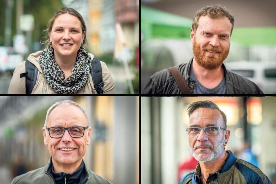 Oben: Liane Graupner (39) und Thomas Schwarzien (39). Unten: Detlev Wuttke (59, l.) und Uwe Schneider (55).