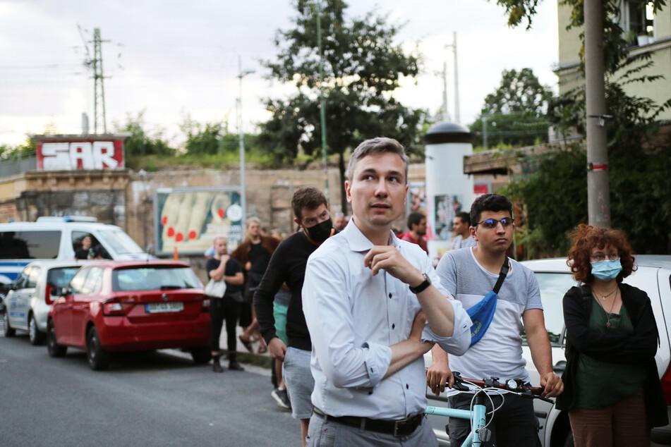 Zuvor machte sich auch Baubürgermeister Stephan Kühn (41, Grüne) ein Bild von der Lage.