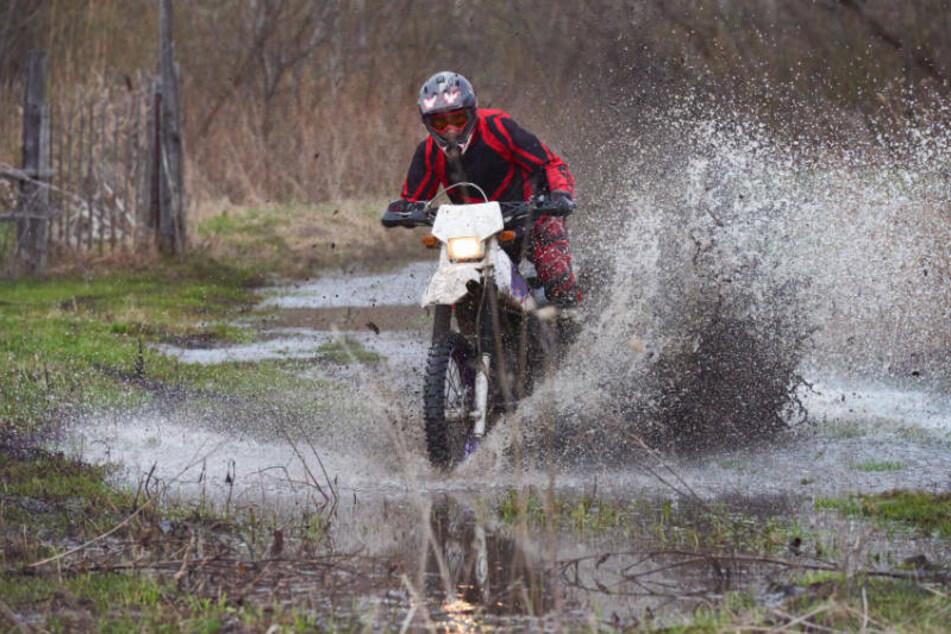 Ein Motorradfahrer brettert illegal und rücksichtslos über eine feuchte Wiese im Wald (Symbolbild).