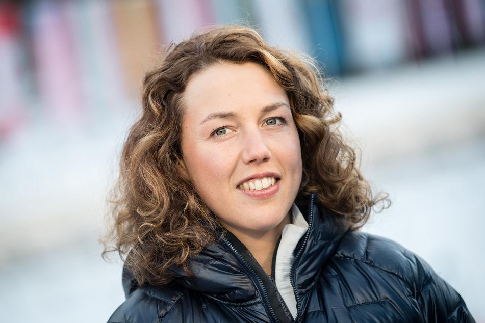 Laura Dahlmeier, ehemalige Biathletin, im TV-Interview.
