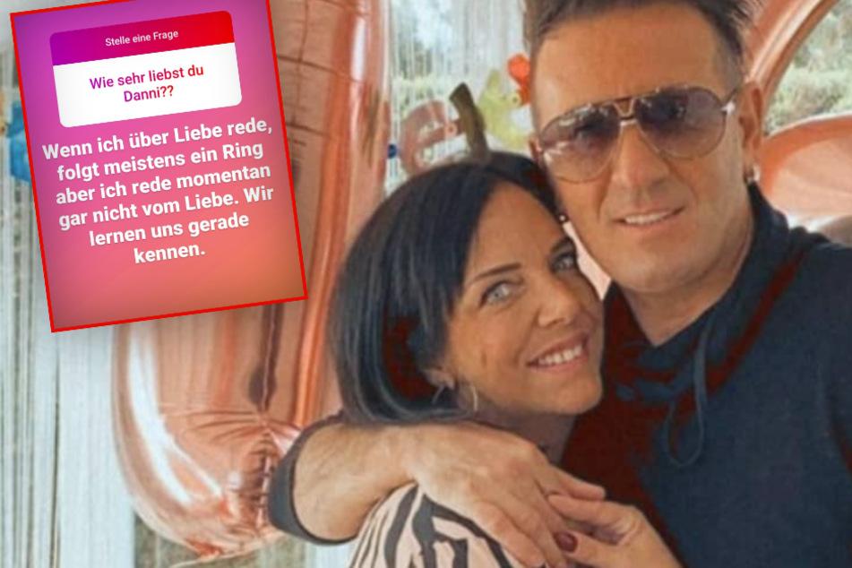 """Die Fotomontage zeigt das verliebte Pärchen, Daniela """"Danni"""" Büchner (43) und Schlagersänger Ennesto Monté (45) sowie eine der Antworten von Ennesto im Rahmen einer Instagram-Fragerunde."""