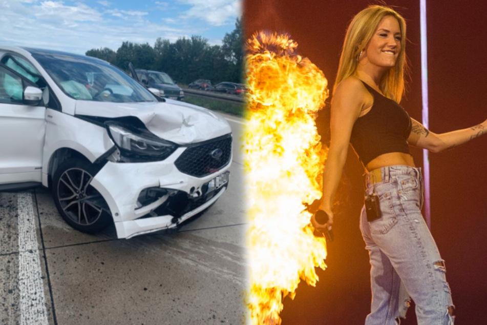 """Schlagersängerin Sonia Liebing (30) ist auf dem Weg zur ARD-Sendung """"Immer wieder sonntags"""" in einen Autounfall verwickelt gewesen. (Fotomontage)"""