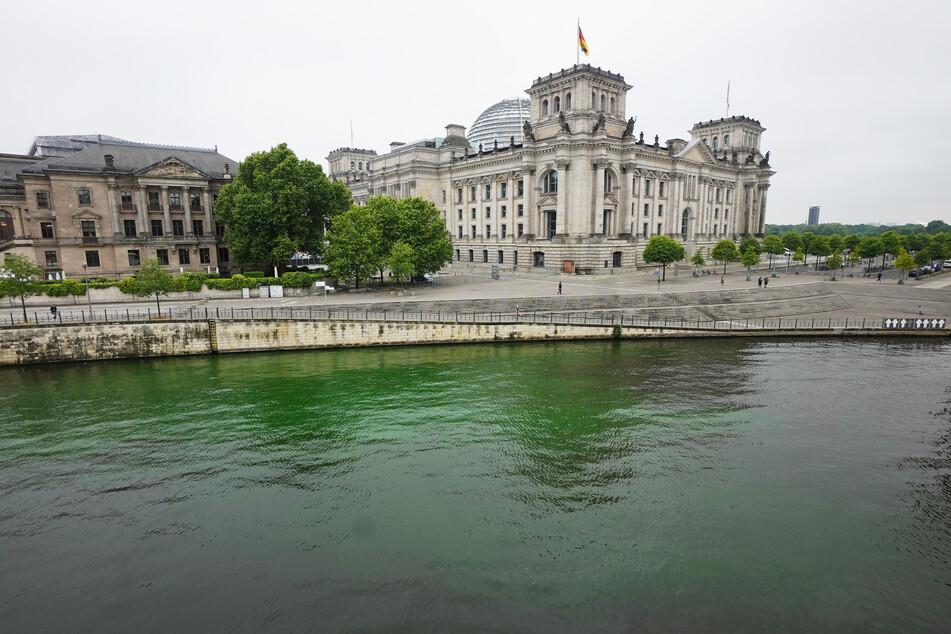 Aktivistinnen und Aktivisten von Extinction Rebellion (XR) haben Teile des Wassers in der Spree im Berliner Regierungsviertel giftgrün gefärbt.