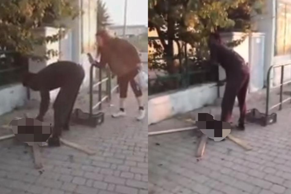 Abartiges Video aufgetaucht: Mann grillt Katze auf offener Straße