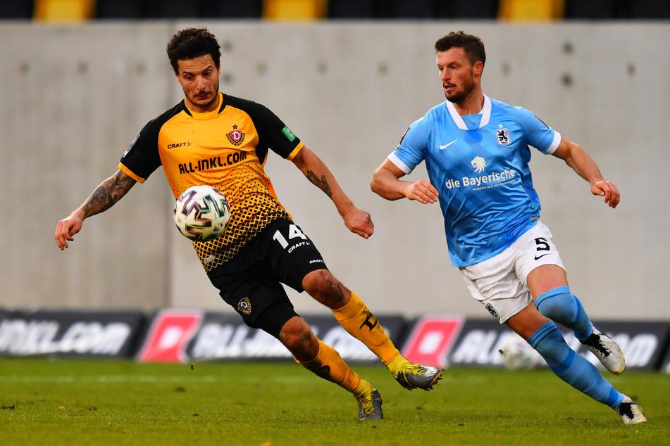 Im Hinspiel, das Dynamo 2:1 gewann, war Quirin Moll (30, r., gegen Philipp Hosiner) noch für die Löwen dabei.
