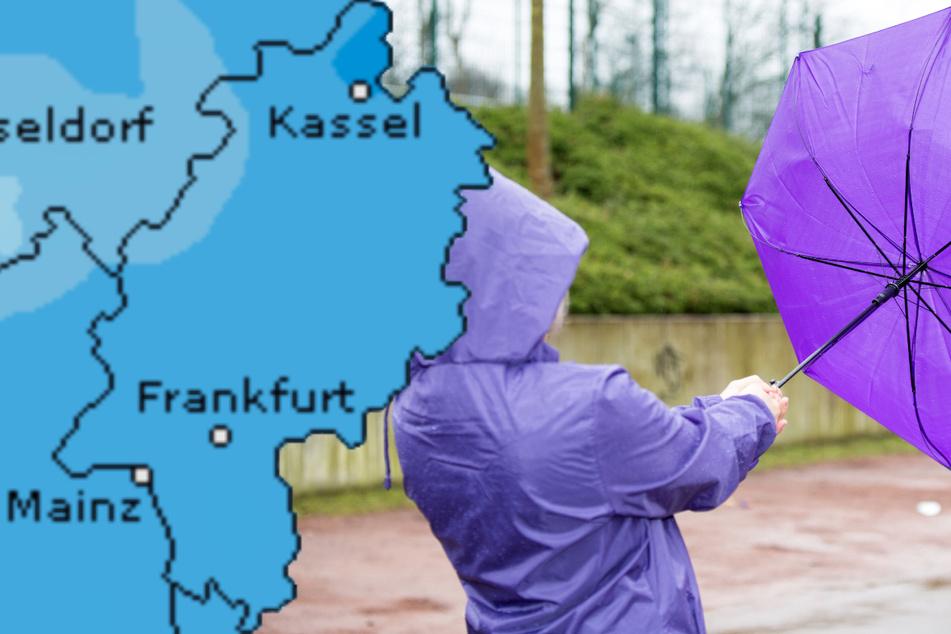 Auch der Dienst Wetteronline.de (Grafik) sagt für den Mittwoch ein hohes Niederschlagsrisiko für Hessen voraus.