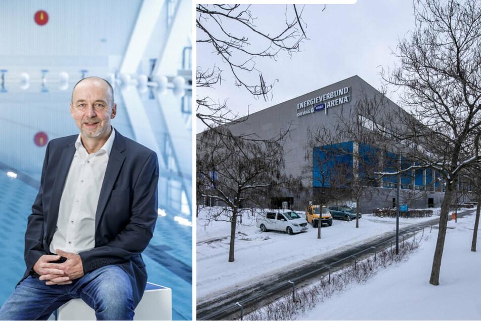 Dresdens Bäder-Chef Matthias Waurick (58, l.) hat die Schneelast auf Flachdächern, wie hier bei der EnergieVerbund Arena (r.), im Blick.