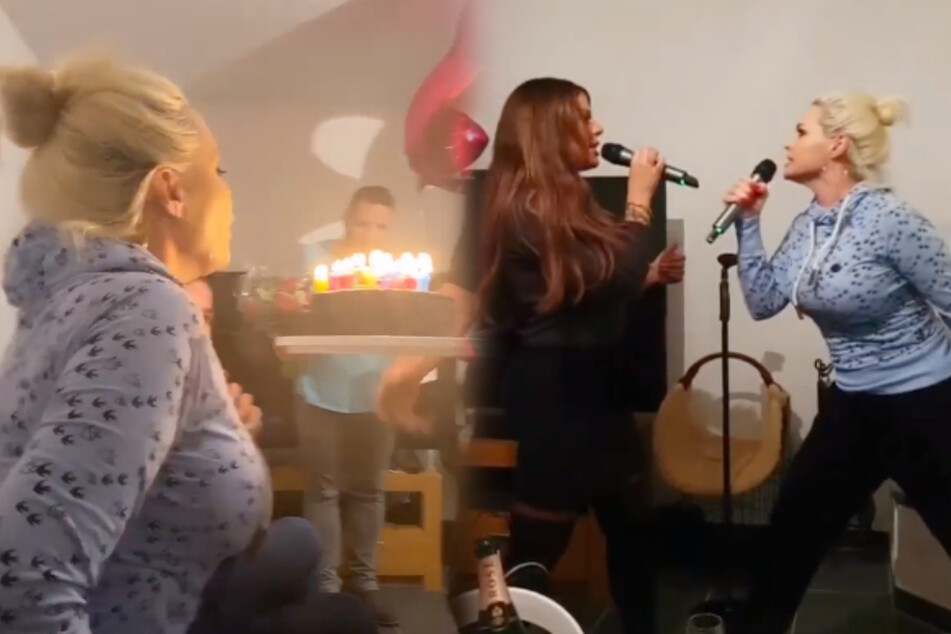 Die Familie feierte in Danielas 34. Geburtstag rein - inklusive Gesangseinlage mit Schwester Jenny. (Bildmontage)