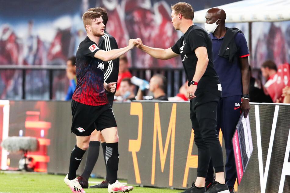 Bayerns neuer Coach Julian Nagelsmann (34, 2.v.r.) weiß ganz genau, was Timo Werner (25, l.) kann.