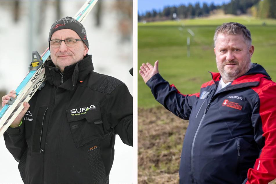 """Jörg Hammer (57,l.) von """"Rost's Wiesen"""" war vergangenen Winter wegen Corona alleine am Augustusburger Ski-Hang. Und René Lötzsch (49, r.), Chef der Fichtelberg-Schwebebahn, macht den Hang gerade fit für die Ski-Saison."""