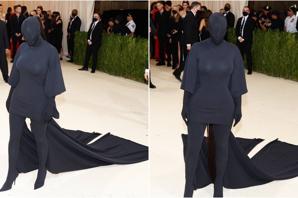 Kim Kardashian arrived at the 2021 Met Gala in an all-black Balenciaga attire that covered her entire body.