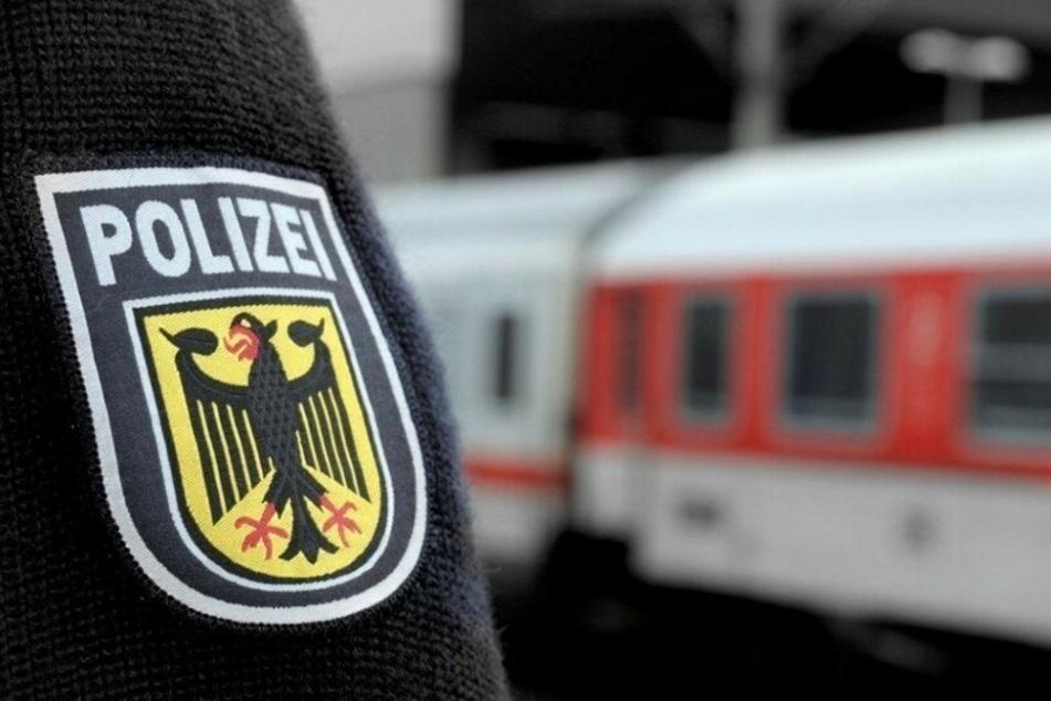 Ein Beamter der Bundespolizei steht vor einem Zug. (Symbolbild)