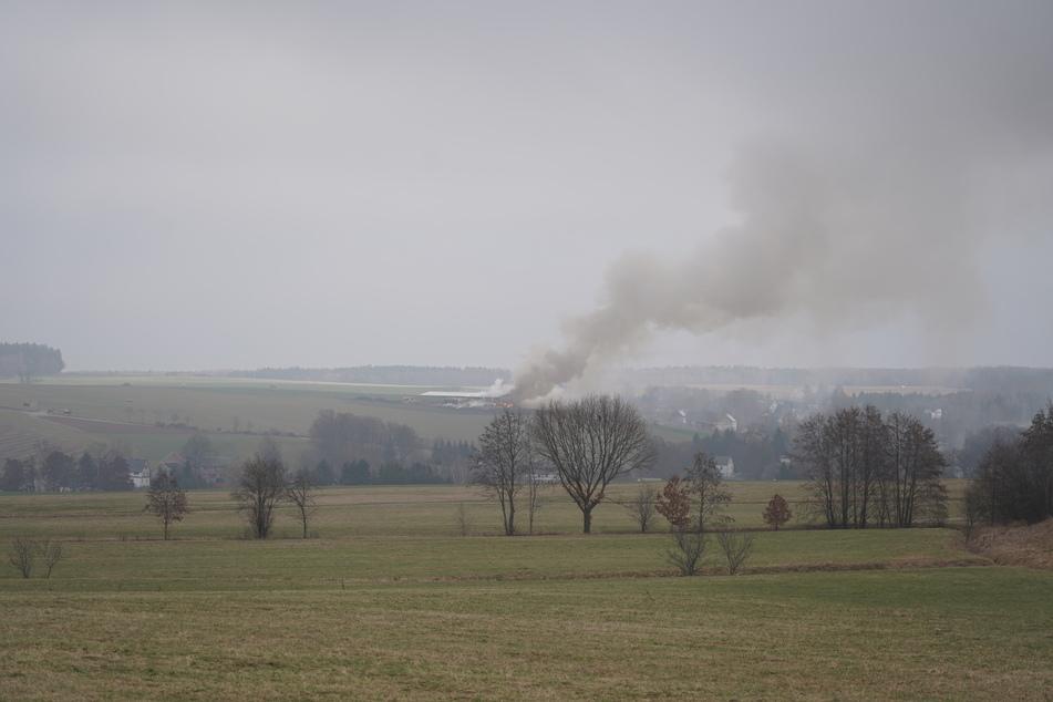 Schon aus der Ferne war eine große Rauchwolke über der Lagerhalle zu erkennen.