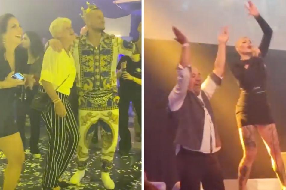"""Auf der """"Promi Big Brother""""-Aftershow-Party feierte Melanies Müllers Mutter Gabi gemeinsam mit Eric Sindermann (33) und Danni Büchner (43), während ihre Tochter (33) mit Uwe Abel (55) auf der Bühne stand."""