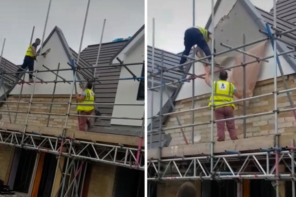 Handwerker rastet aus und zerstört Haus, das er gerade erst fertiggestellt hat
