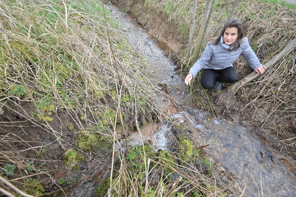 Naturschutzhelferin Carola Hilkmann (46) zeigt den unerwünschten Abfluss im Poltermühlenteich.