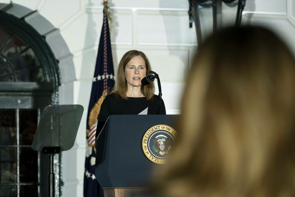 Justice Amy Coney Barrett at the White House confirmation ceremony on Monday evening.