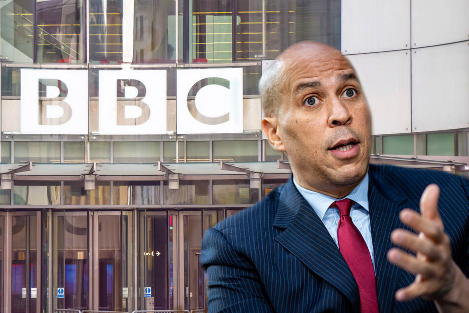 An imposter posed as Cory Booker during a BBC Newshour radio interview on Friday (collage).