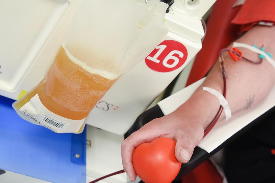 Im Blutspendezentrum der Haema AG spendet ein Mann Blutplasma.