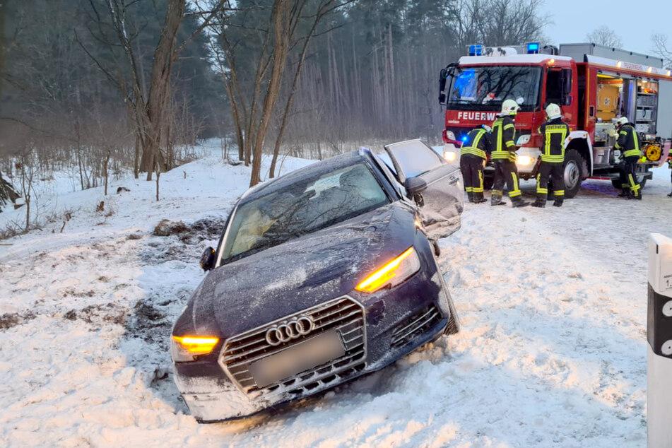 In Kloster Lehnin wurde ein Audi von der Straße gerammt.