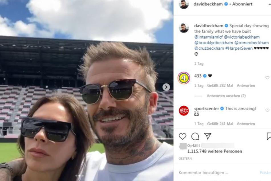David und Victoria Beckham. Stolz zeigt der 44-Jährige seiner Frau sein Stadion.