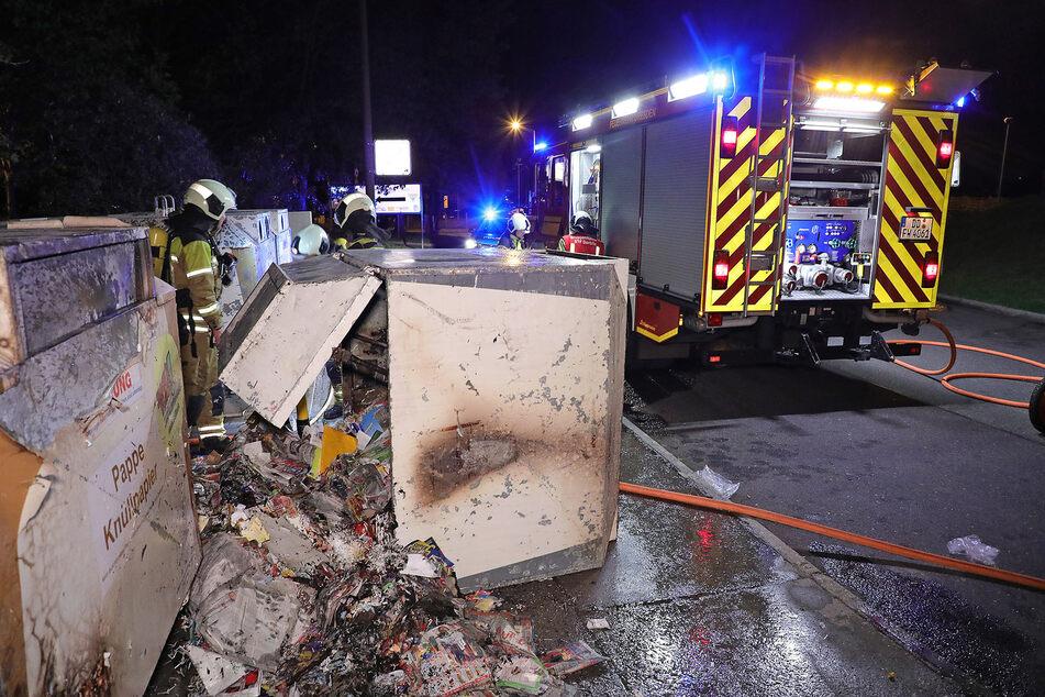 Schon wieder. Erneut brannte ein Papiercontainer im Dresdner Stadtteil Gorbitz.