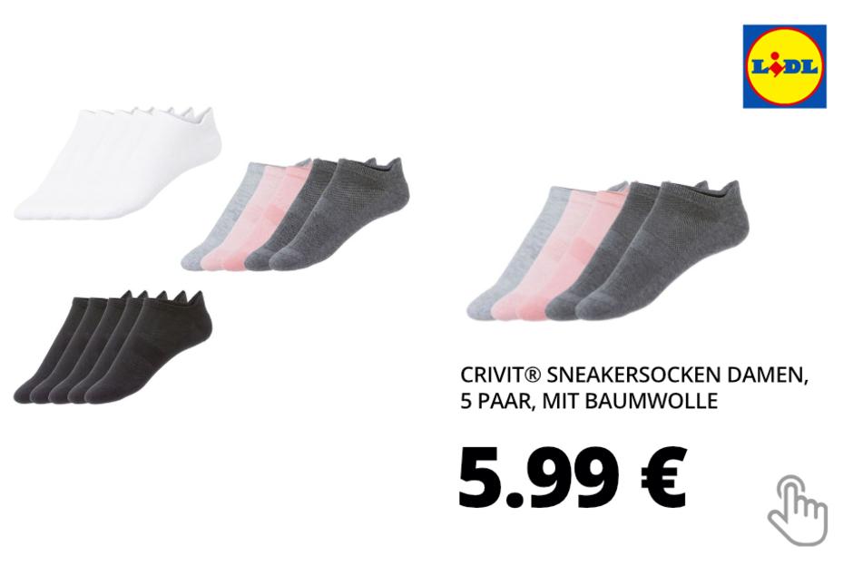 CRIVIT® Sneakersocken Damen, 5 Paar, mit Baumwolle