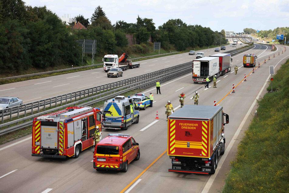 Stillstand auf der A4: Bei Dresden musste die Autobahn am Freitagmittag vorübergehend voll gesperrt werden.