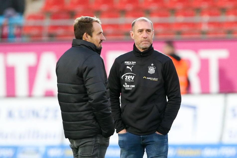 Sportchef Toni Wachsmuth (33, l.) und Coach Joe Enochs (49) hatten eine sehr ähnliche Meinung zur Leistung ihres FSV Zwickau beim 2:2 in Jena.