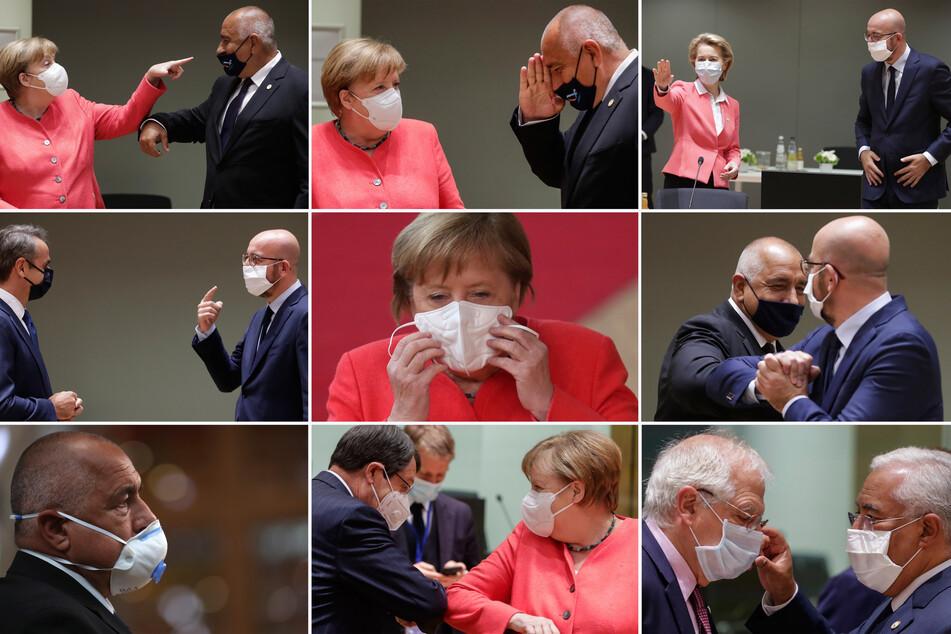 Die Bildkombo zeigt unterschiedliche Begrüßungs-Szenen von Bundeskanzlerin Angela Merkell, ihrem bulgarischen Amtskollegen Boiko Borissow (oben links und unten links) und dem zypriotischen Präsidenten Nicos Anastasiades (unten Mitte) sowie von Kommissionspräsidentin Ursula von der Leyen und dem Präsident des Europäischen Rates, Charles Michel, (oben rechts), Portugals Premierminister Antonio Costa und Josep Borrell, dem Chef der Außenpolitik der Europäischen Union (unten rechts), Kyriakos Mitsotakis (Mitte links), Premierminister von Griechenland beim EU-Gipfel.