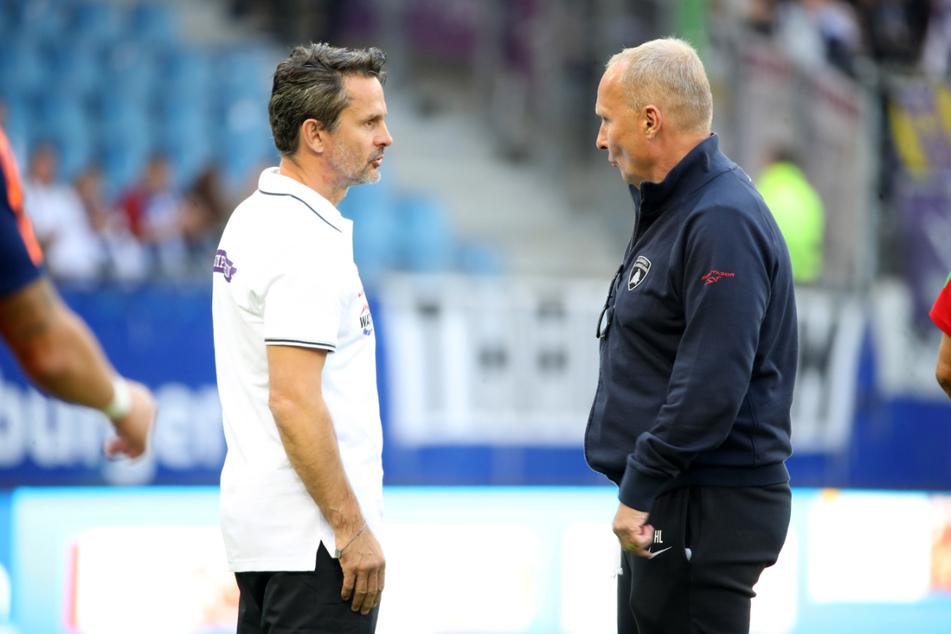 Helge Leonhardt (62, r.) fordert mehr Emotionen - auch von Chefcoach Dirk Schuster (53).