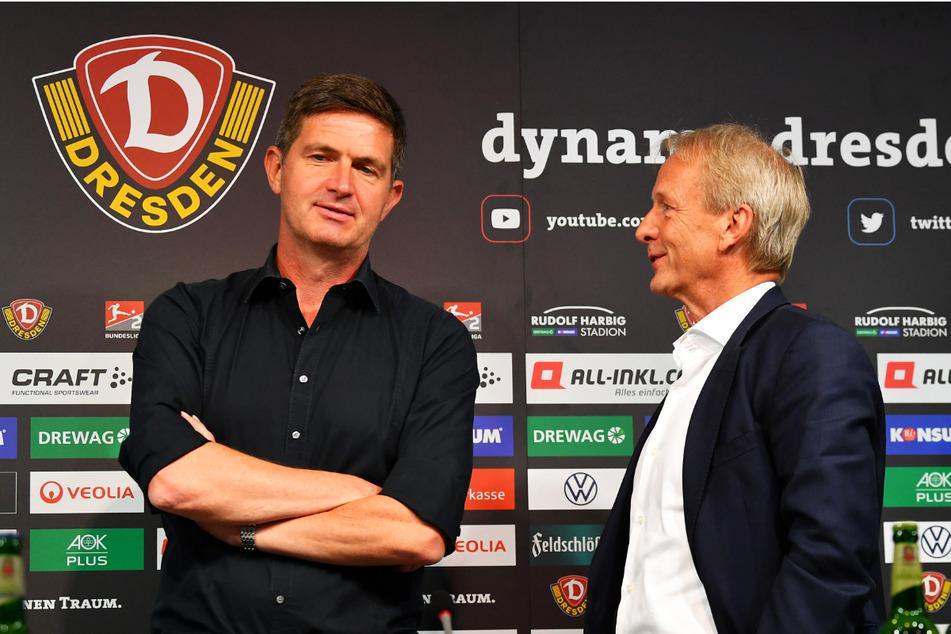 Dynamos Aufsichtsratsvorsitzender Jens Heinig (63, r.) im Gespräch mit Sportgeschäftsführer Ralf Becker (50).