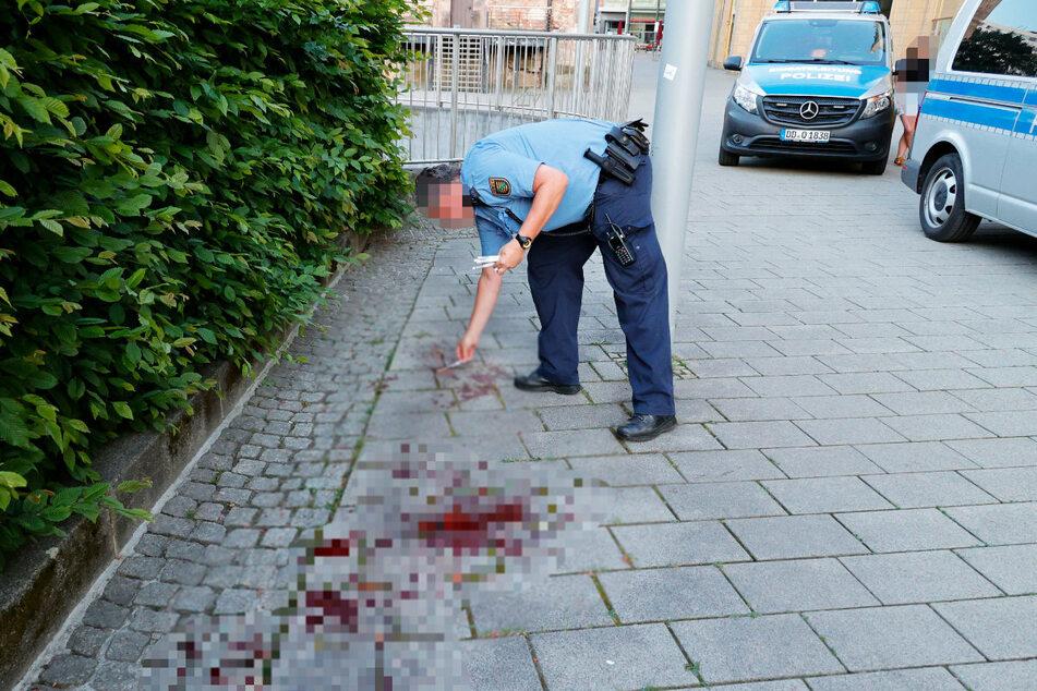 Am Roten Turm zeugte eine große Blutlache vom Geschehen.