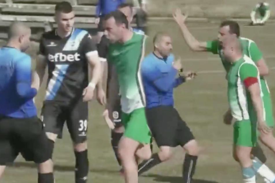 Was für traurige Szenen. Die Spieler in Grün gehen auf den Schiedsrichter los. (Bildmontage)