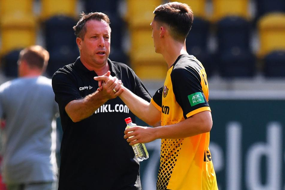 """Dynamo-Coach Markus Kauczinski (50, l.) kann sich auf Jonathan Meier (21) verlassen. """"Er hört zu, lernt, verbessert sich."""""""