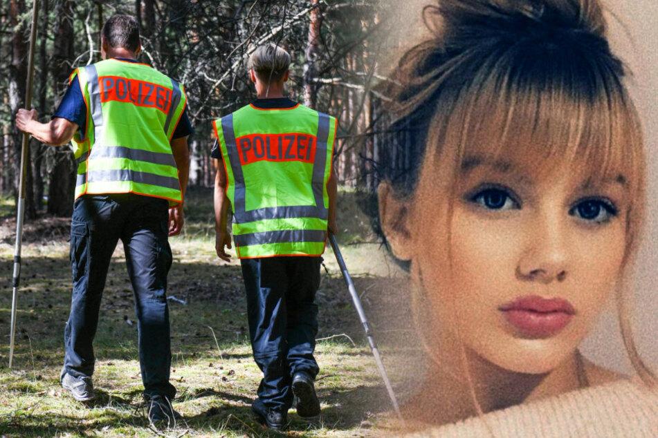 Polizisten durchsuchen ein Waldgebiet im Fall Rebecca Reusch. (Archvibild/Montage)
