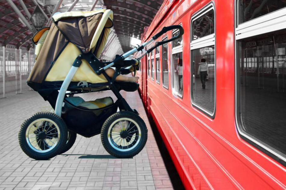 Schock-Moment: Buggy stürzt samt Kleinkind auf Bahngleise!