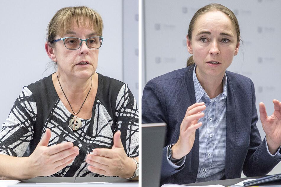 Kerstin Haase (60, l.) vom Gesundheitsamt und Bürgermeisterin Kristin Kaufmann (44, Linke, r.) haben über die aktuelle Lage informiert.