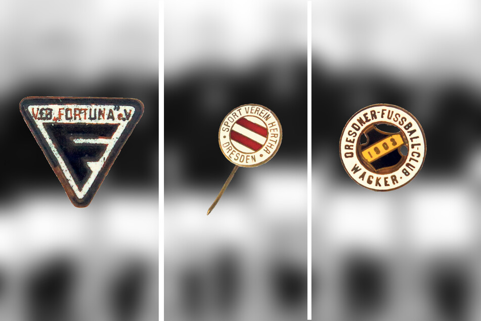 Über Wappen und Farben verschafften sich die Vereine eine eigene Identität, so wie hier Fortuna, Hertha und Wacker. Namen, die man heute eigentlich nicht mehr mit Dresdner Clubs verbindet.