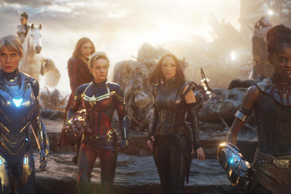 (From l to r) Gwyneth Paltrow as Pepper Potts, Tessa Thompson as Valkyrie, Brie Larson as Captain Marvel, Pom Klementieff as Mantis, and Letitia Wright as Shuri in Avengers: Endgame.
