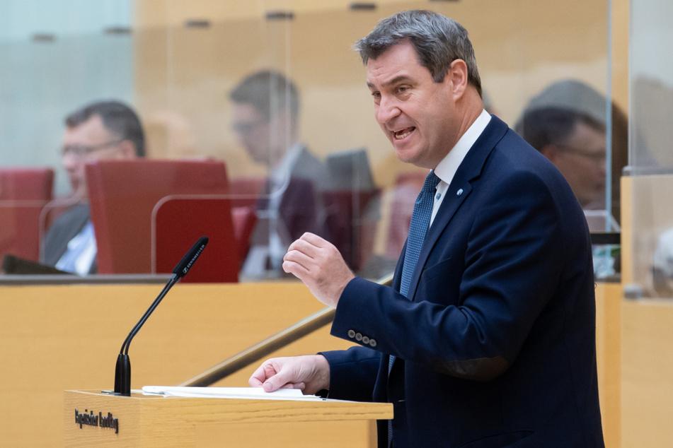 Markus Söder (54, CSU), Ministerpräsident von Bayern, gibt im bayerischen Landtag während einer Sondersitzung eine Regierungserklärung ab. (Archiv)