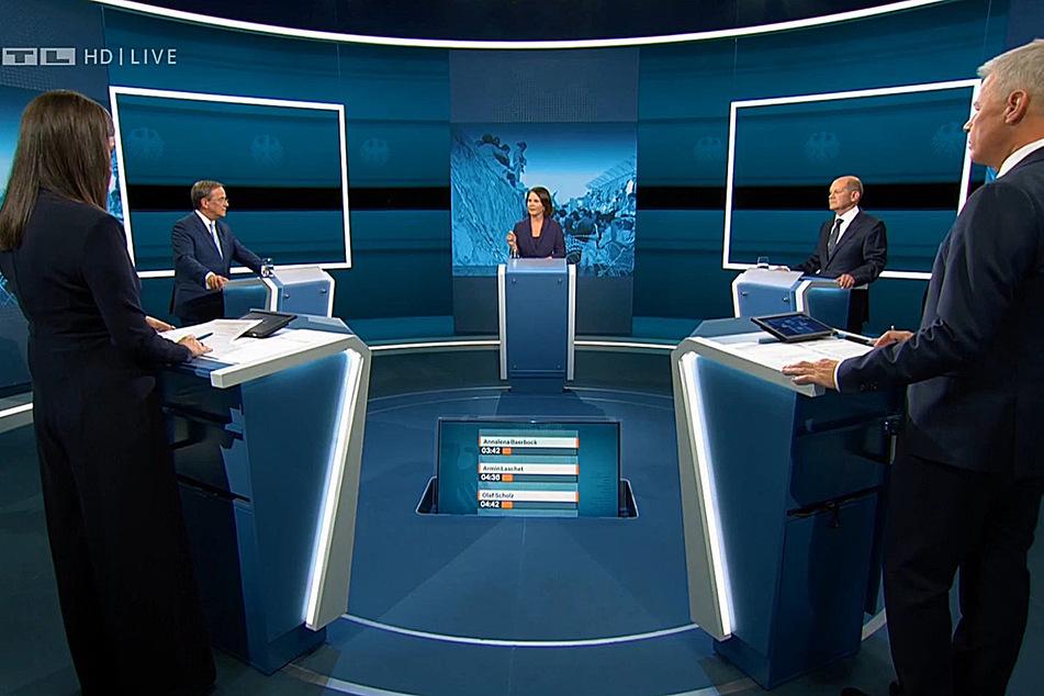 Zwei Journalisten, drei Kandidaten: Bei der Triell diskutierten Olaf Scholz (63, SPD), Armin Laschet (60, CDU) und Annalena Baerbock (40, Grüne) miteinander.