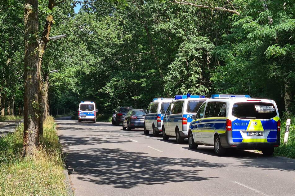 Polizeiautos stehen im Juli 2020 in einem Waldstück zwischen Babelsberg und Dreilinden.