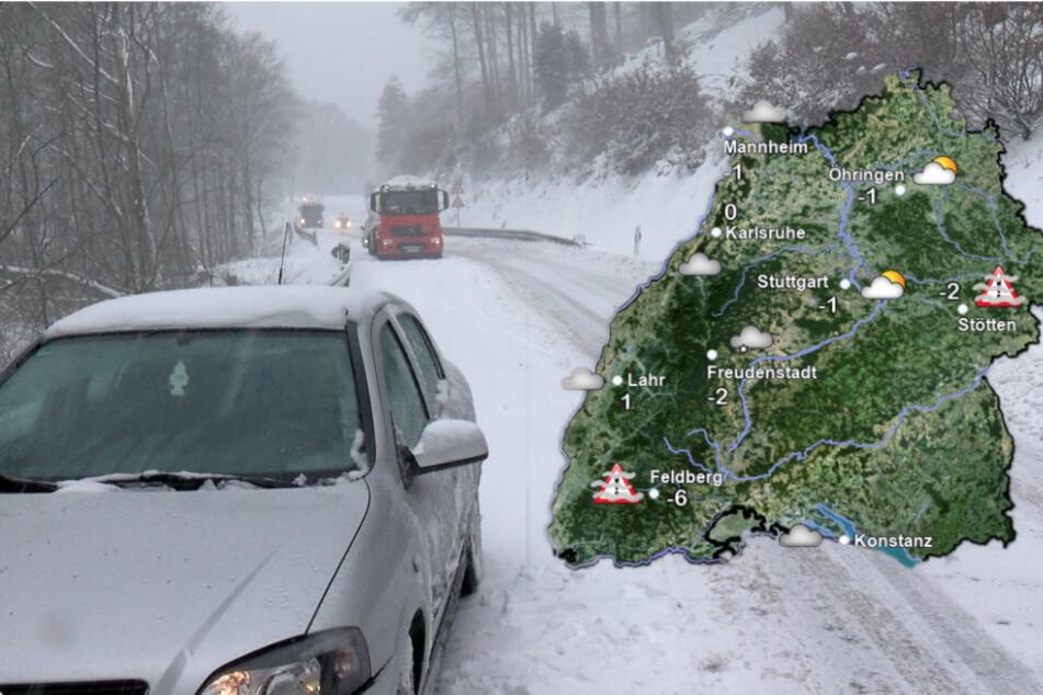 Am Mittwoch wird es in Baden-Württemberg rutschig. (Fotomontage)