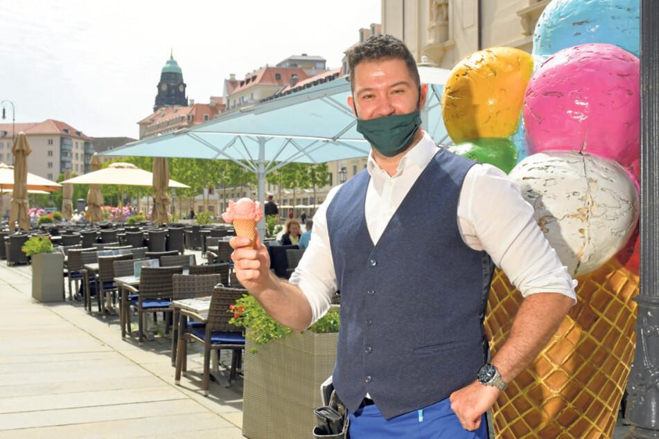 Leon Laze (32), Geschäftsführer des Gelateria Bellagio, hofft auf mehr Touristen.