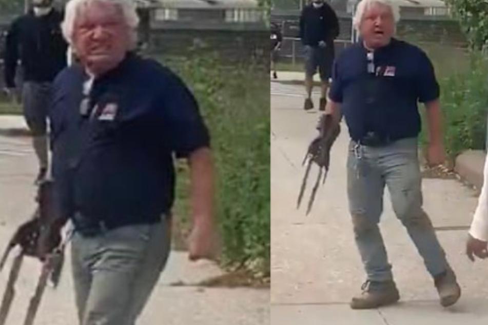 """Verstörendes Video zeigt Mann mit """"Wolverine""""-Klauen, der auf Demonstranten losgeht"""