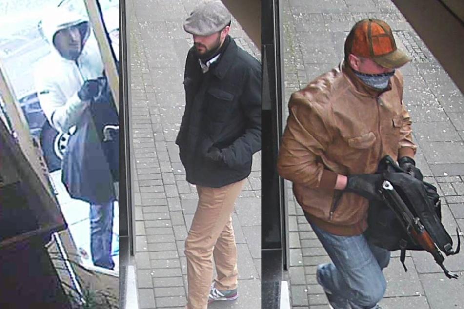 Mit diesen Aufnahmen von Überwachungskameras sucht die Polizei die Räuber.