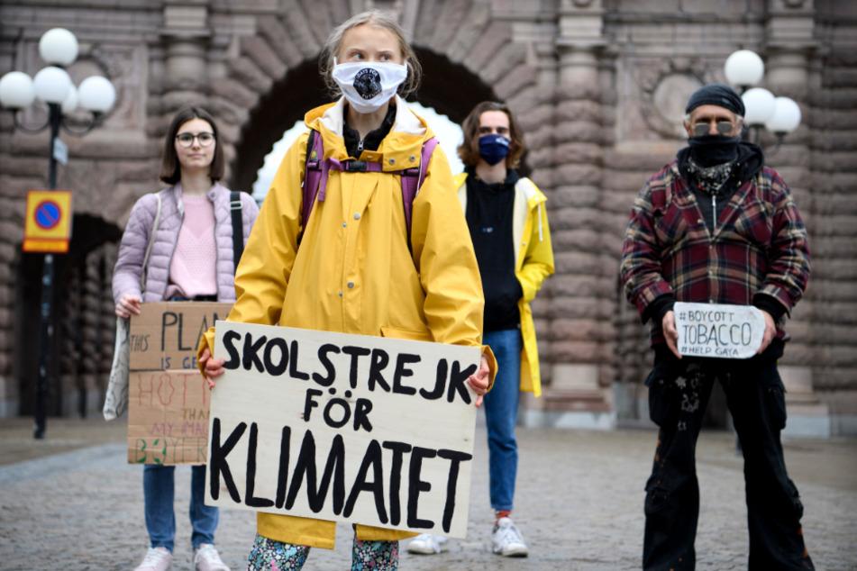 Greta Thunberg bei einem Fridays-for-Future-Protest vor dem schwedischen Parlament.