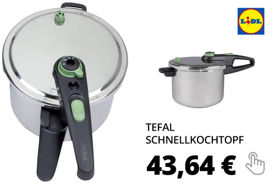 Tefal Schnellkochtopf, 6 l Fassungsvermögen, mit Deckel, Dampfkorbeinsatz