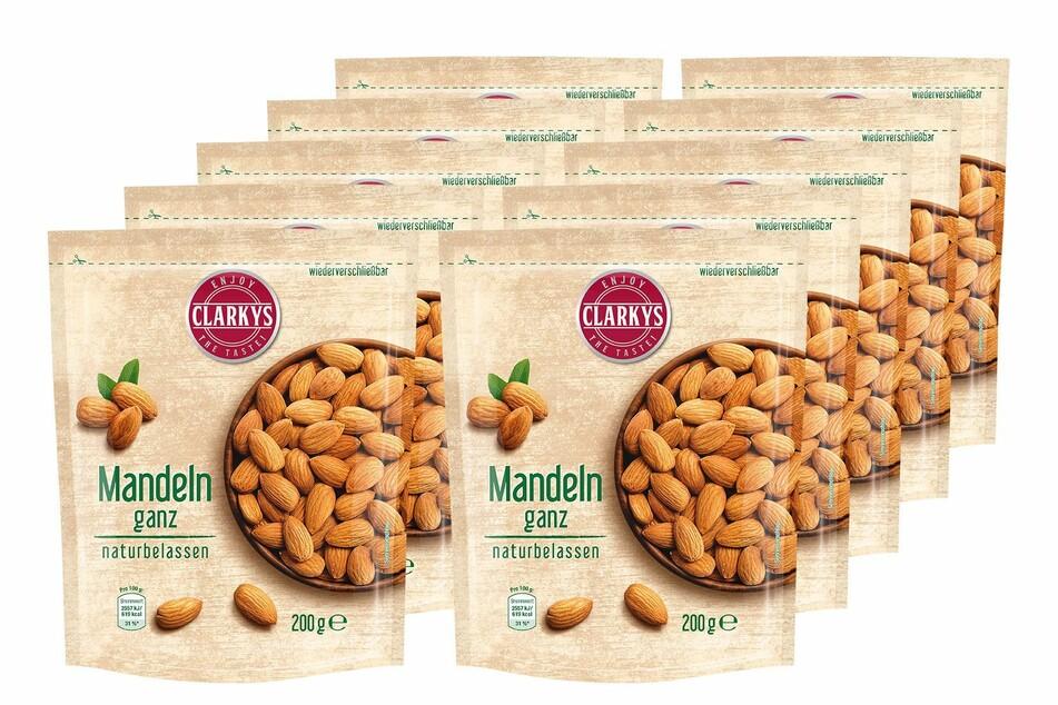"""""""Clarky's Mandeln ganz naturbelassen"""" in der 200-Gramm-Packung werden zurückgerufen."""